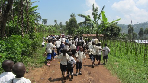 Being followed down the road to the school