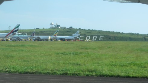 The famous sign at Entebbe airport