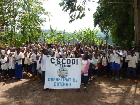 Being welcomed at the CSCODI school for orphans, Butembo