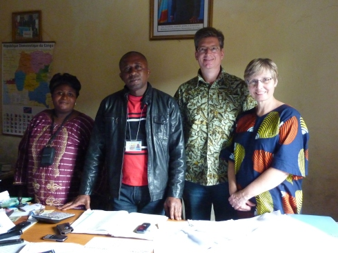 Saasita, Pawicu Nbuja Isaac, Michael Ben, Brenda Ben at the CADECO office, Butembo
