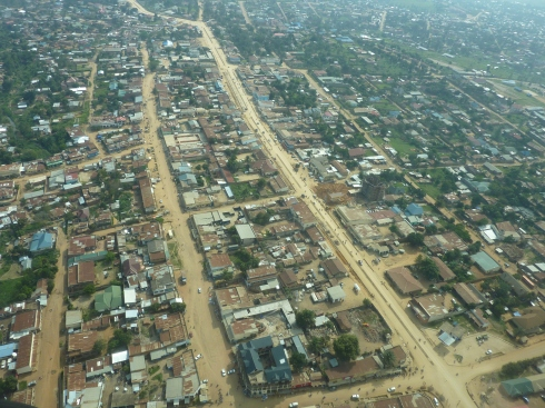 Bunia from the air, looking south