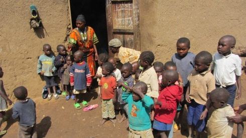 Congolese orphans being lined up to meet us