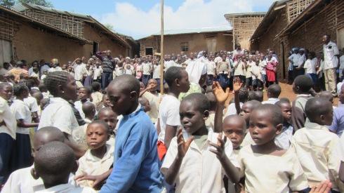 Lining up to meet us at Muti wa Nzuki School for Orphans Dec 2011