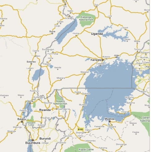 Map of Eastern Congo.  Beni is in the northern portion of North Kivu.  Bunia is in Orientale province.