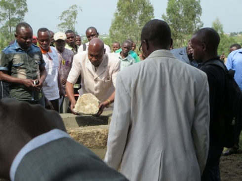Laying the cornerstone for the Wood Campus in Bunia DRC