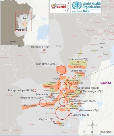 Ebola Location Map 2019 April
